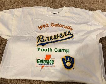 491882f9f1de96 1992 Milwaukee brewers Gatorade youth brewers t shirt