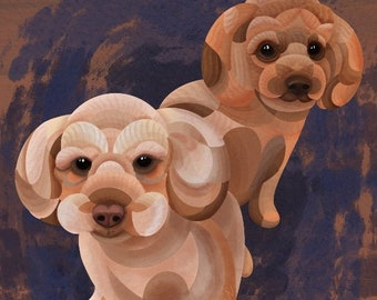DIGITAL Toy Poodles watercolour painting