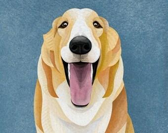 DIGITAL Borzoi/Russian Wolfhound Golden on Blue Mosaic Portrait