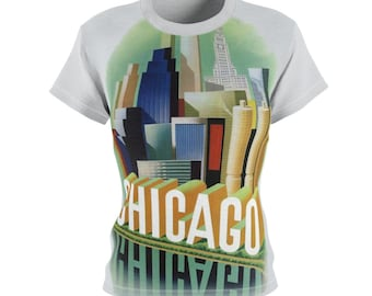Chicago / Gift for Her / Women's / Tee T-Shirt Shirt / Travel / 60s / Valentine's gift / Poster / Vintage / Art / Peace / Love