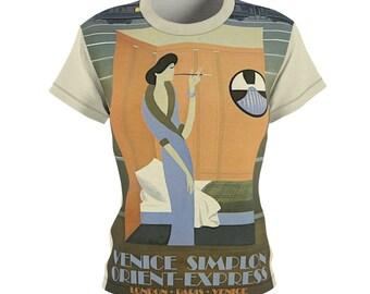Paris / Venice / Women's / Tee T-Shirt Shirt / Orient Express / Train / Travel / Deco / Vintage / Art / Birthday / Sexy