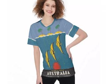 Vintage Australia Travel Poster Women'S O-Neck T-Shirt