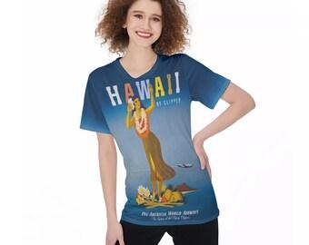 Retro Hawaii Travel Poster Women'S O-Neck T-Shirt