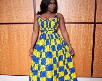 32ed6730 Sleeveless gown,Ankara gown,gown with sash,African print gown,Dashiki dress,maxi  gown,gown for oversize, vintage clothing,hand made,prom