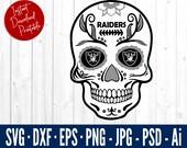 Oakland RAIDERS Sugar Skull SVG - Raiders Svg Files For Cricut - Raiders Svg - Oakland Raiders NFL Cut Files - Sugar Skull Dxf Cut Files