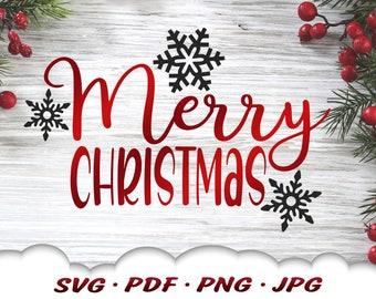 Merry Christmas Snowflake Svg - Merry Christmas Svg Files For Cricut - Christmas Svg - Christmas Décor - Snowflake Clipart Iron On Transfer