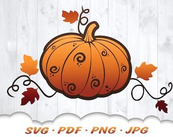 Fall Pumpkin Svg - Pumpkin Svg Files For Cricut - Fall Svg - Fall Décor - Pumpkin Clipart - Fall Shirt Iron On Transfer