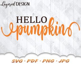 Hello Pumpkin SVG - Fall Pumpkin Svg Files For Cricut - Fall Svg - Pumpkin Clipart - Fall Décor - Hello Pumpkin - Fall Iron On Transfer