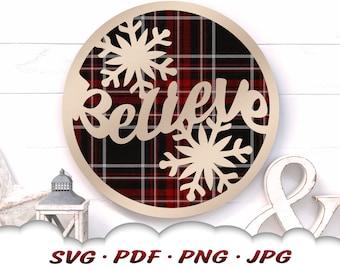 Believe Christmas Snowflake Svg - Christmas Svg Files For Cricut - Believe Svg - Snowflake Svg - Round Christmas Sign - Christmas Clipart