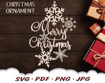 Merry Christmas Snowflake Svg - Merry Christmas Svg Files For Cricut - Christmas Ornament Svg - Christmas Décor - Snowflake Clipart Iron On
