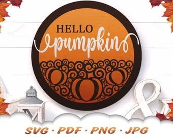 Hello Pumpkin SVG - Fall Pumpkin Svg Files For Cricut - Pumpkin Sign - Fall Svg - Fall Décor - Fall Sign Svg - Pumpkin Clipart