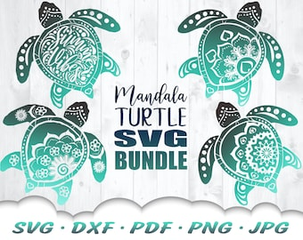 Turtle Mandala SVG Bundle - Mandala SVG - Turtle SVG Bundle - Sea Turtle Svg - Turtle Svg Files For Cricut - Iron On Transfer - Summer Svg