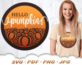 Hello Pumpkin SVG - Fall Pumpkin Svg Files For Cricut - Fall Svg - Pumpkin Clipart - Fall Shirt Svg - Hello Pumpkin - Fall Iron On Transfer