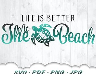 Beach Life Mandala Sea Turtle SVG Files For Cricut - Life Is Better At The Beach Svg - Summer Svg Cut Files - Beach Clipart Iron On Transfer