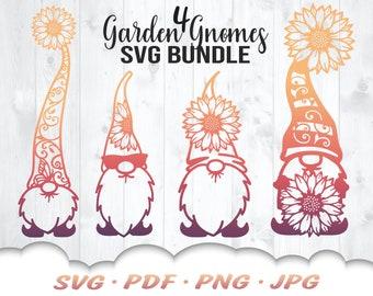 Floral Gnome SVG Bundle - Garden Gnome Svg Files For Cricut - Sunflower Svg - 4 Summer Gnomes Svg Cut Files - Floral Gnome Clipart Iron On