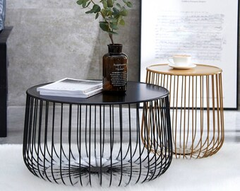 Gold Metal Round Coffee Table.Round Side Table Etsy