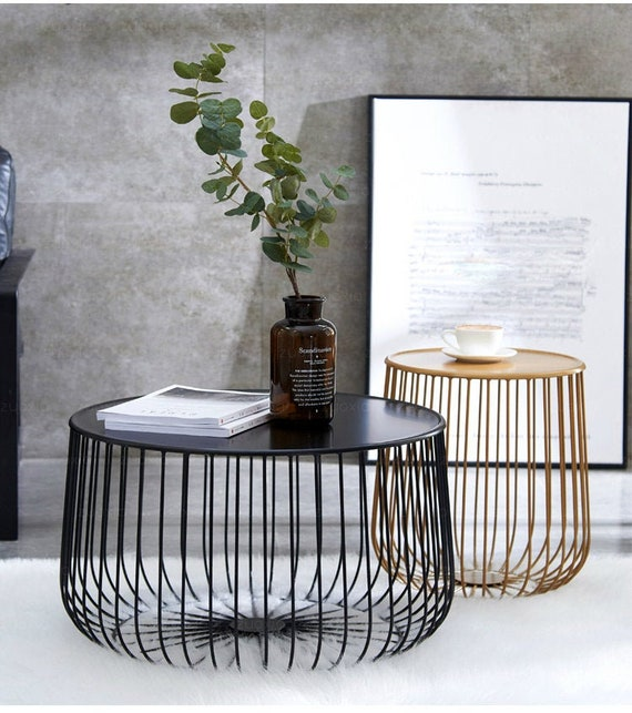 Metal Round Tea Table with Modern Design Pumpkin End Table, Living Room  Side Coffee Table