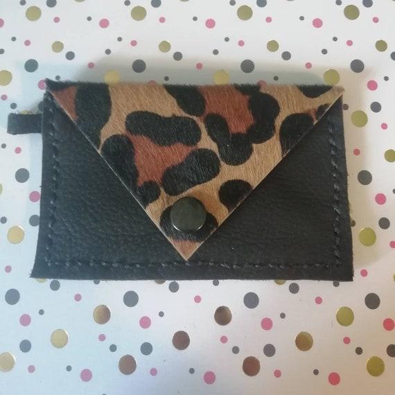 Leopard Print Card Purse | Card Purse Keyring | Leather Coin Purse Key chain | Leather Key Ring | Mini Change Purse | Card Holder