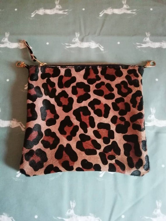 Leopard Print Leather Cross Body Bag | Womens Leather Bag | Leather Clutch Bag