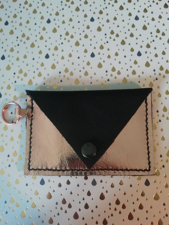Coin Purse Keyring | Metallic Leather Card Purse | Rose Gold and Black Purse | Leather Card Purse Keyring