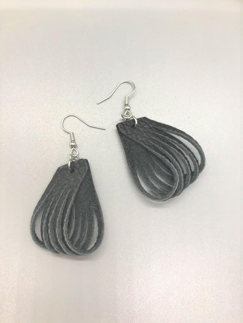 Black Earrings Fish Hook Earrings Earrings Leather Earrings Black Leather Earrings French Hook Earrings Leather Earrings