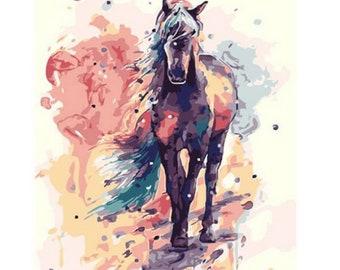 Belgian Draft Horse Workhorse Animal Painting 8x10 Real Canvas Fine Art Print