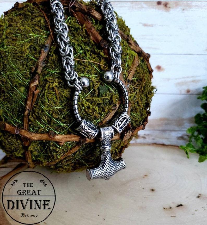 Viking Chain Necklace Mjolner Pendant Thor/'s Hammer Necklace Nordic Jewelry Nordic Viking Thor/'s Hammer Pendant Mjolner Necklace