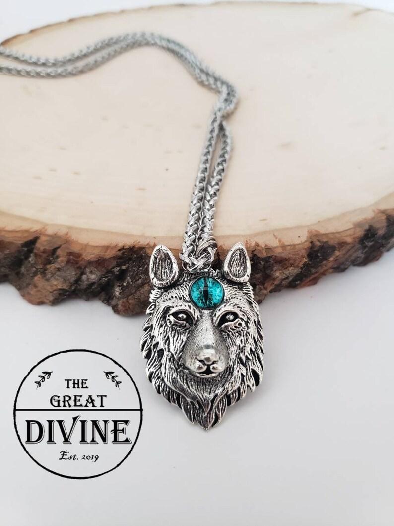 Men/'s Wolf Necklace Wolf Eye Necklace Wolf Head Necklace Wolf Necklace Wolf Necklace Mens Wolf Pendant