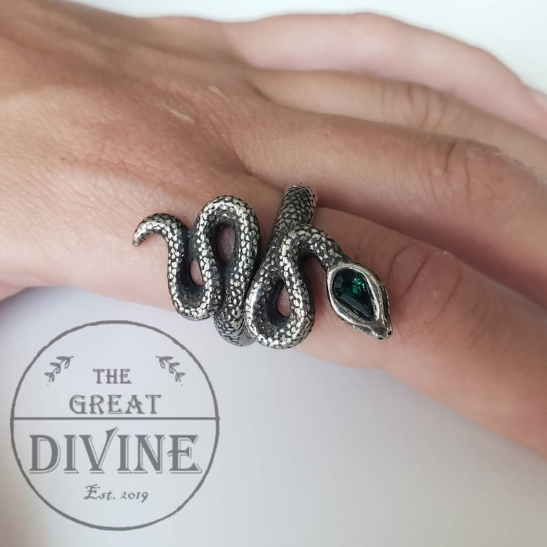 Details about  /Snake Adjustable Ring Serpent Tribal Goth Gothic Sterling Silver wh364