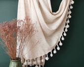 Recycled Cotton Throw, Pom Pom Throw, Cotton Throw Blanket, Beach Blanket, Sofa Throw, Picnic Blanket, Birthday Present