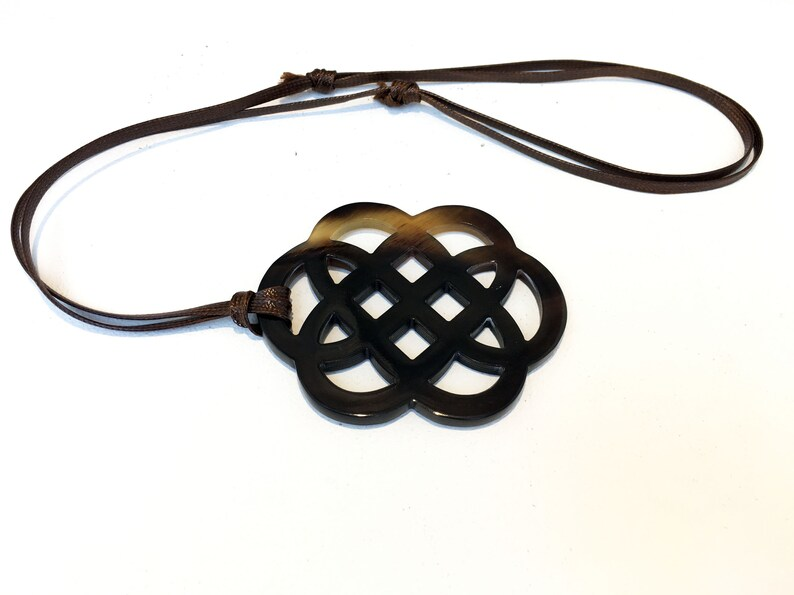 endless knot necklace brown brown black horn Real horn organic necklace Natural horn pendant