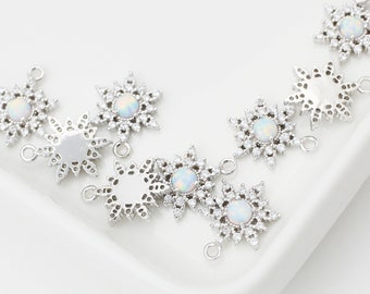 1pcs/SP0009S/ Opal Flower In Snow Pendant, Natural Stone Pendant, Earrings pendant, Necklace Pendant,Polished Rhodium-Plated, Jewelry Making