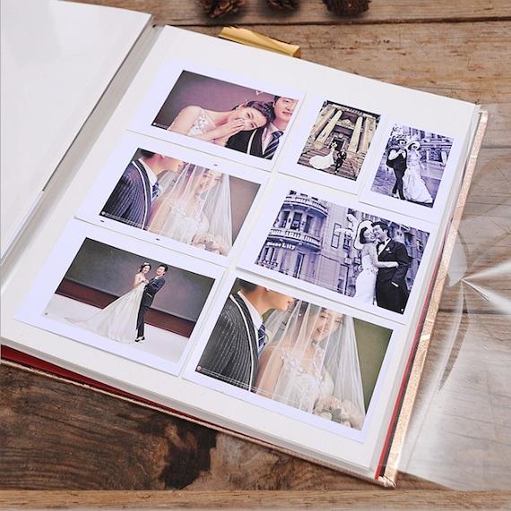 Large Capacity Pu Cover Golden Wedding Album Self Adhesive Photo Albumwith Sleeves Scrapbook Champagne Diy Albums Wedding Christmas Gift