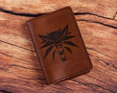 Witcher passport holder, leather passport cover, personalised passport cover customer documents cover, travel accessories, travel gifts