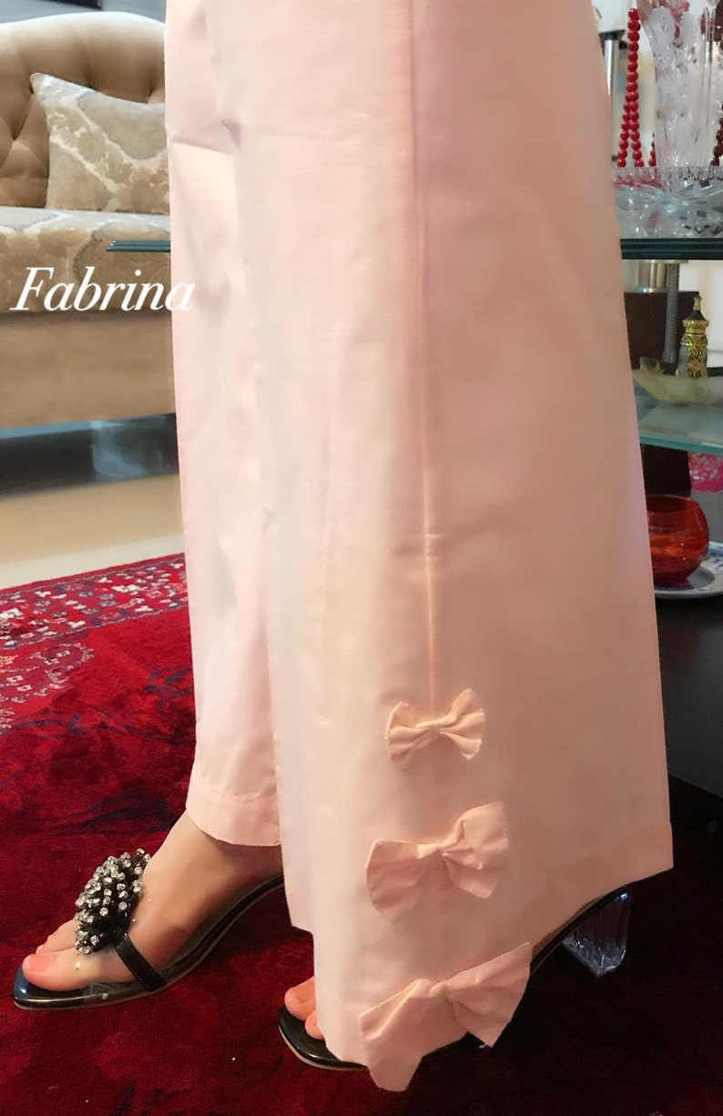 Pakistani Indian Women Loose Fit Trouser with Bows at bottom
