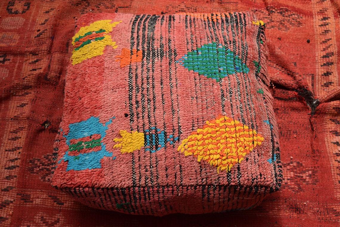 Kilim pouf Square footstool Ottoman furniture Vintage Kilim Pouf Multicolors Berber Pouf Home decor