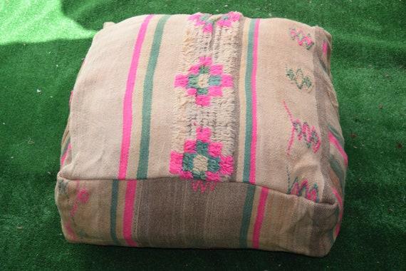 Kilim pouf Square footstool Embroidered Ottoman Multicolors puffs Home decor