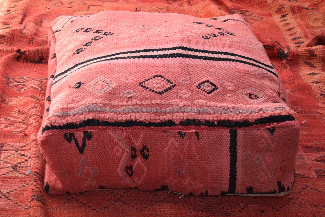 Home decor Kilim pouf Square footstool Ottoman furniture Vintage Kilim Pouf Multicolors Berber Pouf