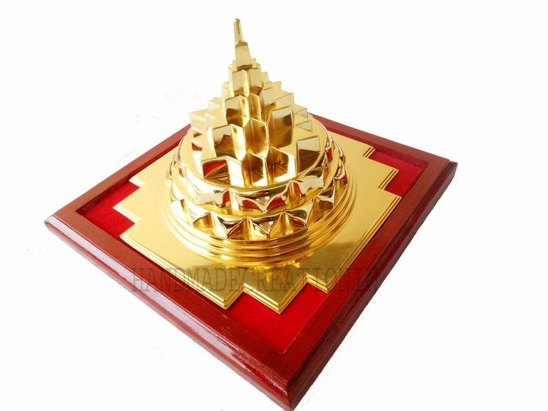 SWARNA SHREE YANTRA  Sri Yantra Hollowed from Inside, Maha Meru, 24 karat  Gold Plated, Meditation, Vastu correction, Prosperity, shri Yantra
