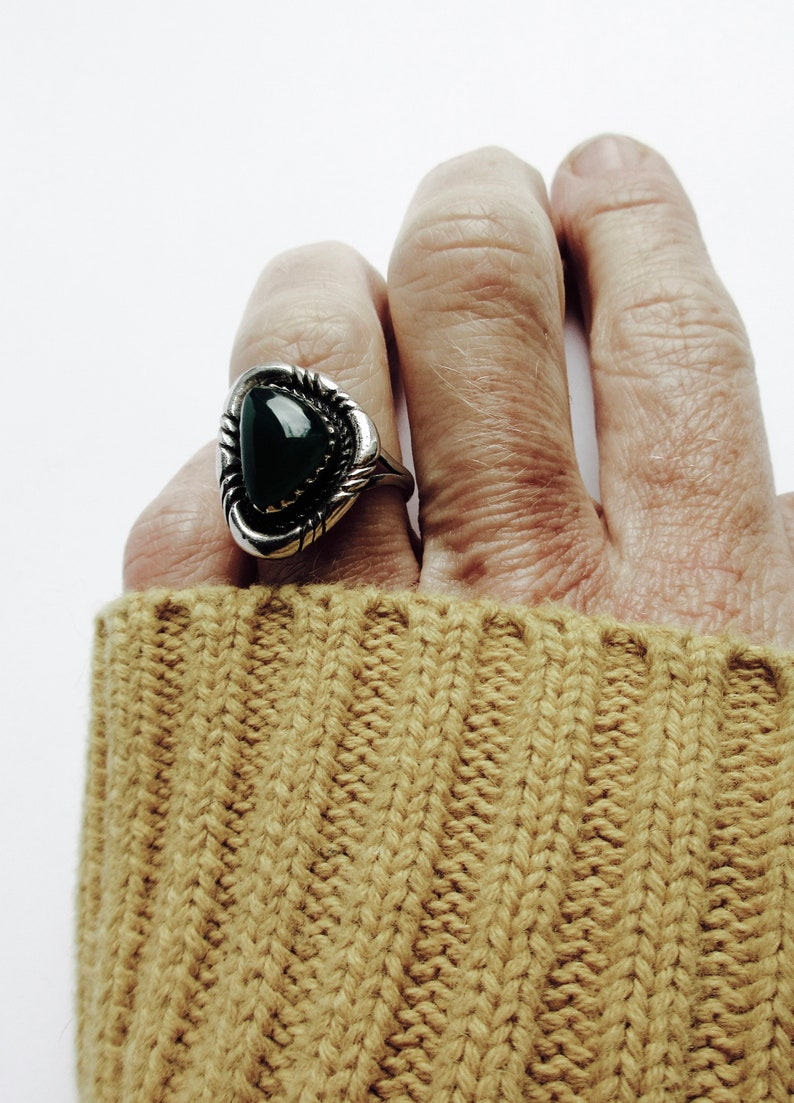 Sterling Silver and Amber Statement Geometric Ring Orange Triangular Stone Ring Marmalade Ring Ornate Statement Ring