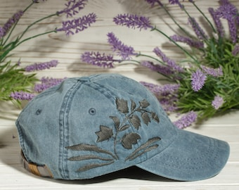 e9e9e4df8c07a Baseball Hat With Hand Embroidered Bellflower   Monochrome Dark Blue Cap    Embroidered gift   Floral Embroidered Hat   Custom Flower Hat