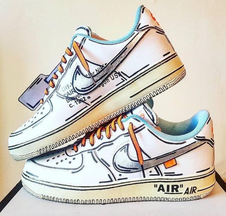 meet be4cf a2ad4 Air force 1 x off white custom | air force 1 cartoon custom sneaker