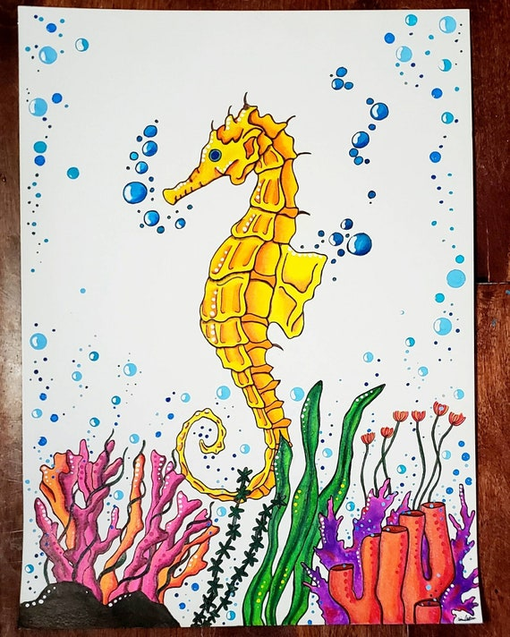 Seahorse Seahorse Painting Coral Watercolor Painting Etsy