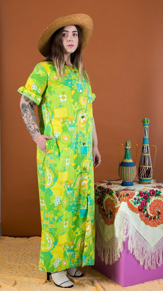 psychedelic print duster dress