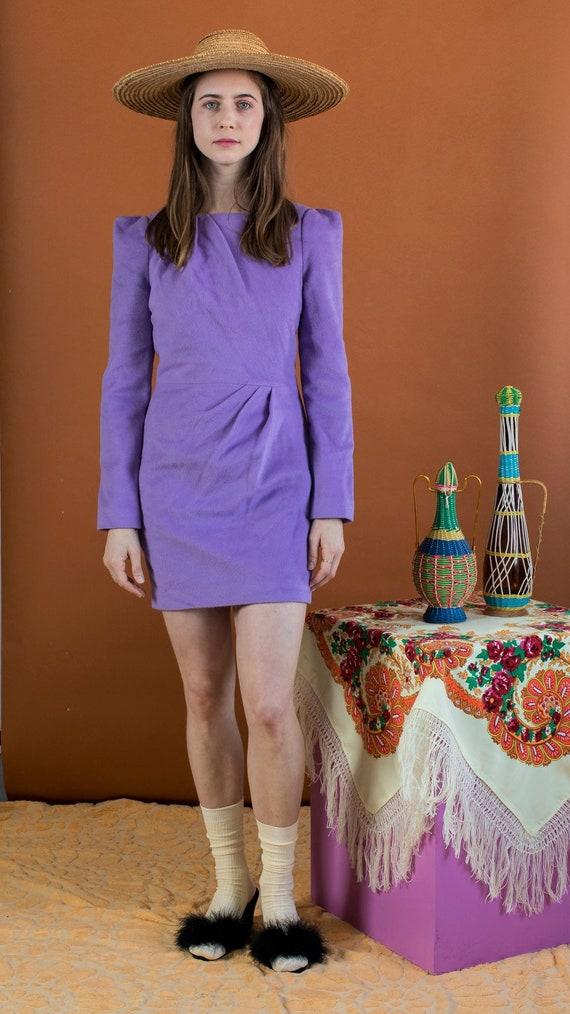 lavender woolen micro-mini dress