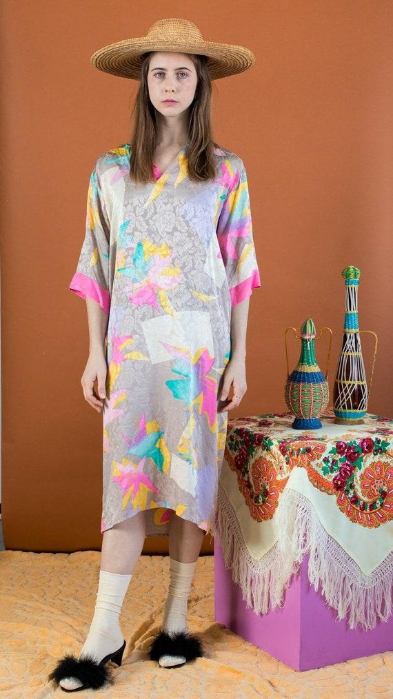 silk abstract tropical print dress