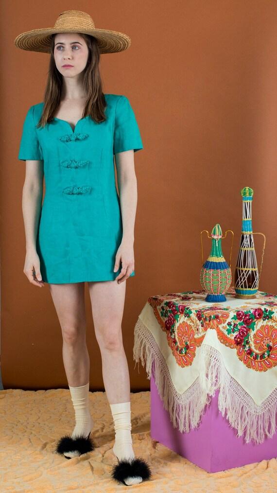 linen mod micro-mini dress - image 2