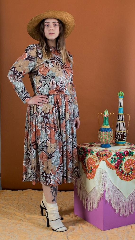 neutral tropical print dress