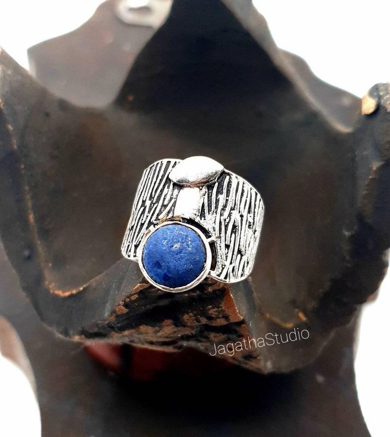 Silver Tree Ring Lapisl\u00e1zuli Tree Trunk Ring Ethnic Boho Statement Band Ring Jewelry Ring gift