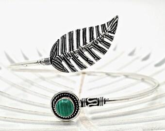 Leaf Arm Bracelet With Gemstones Green Onyx, Rose Quartz, Moonstone, Turquoise Upper Arm Bangle Cuff Adjustable Armlet Bohemian Jewelry gift